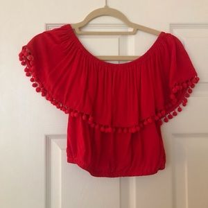 Forever 21 off the shoulder red crop top size S